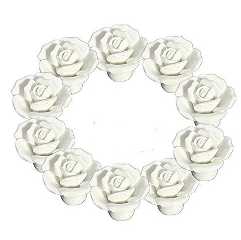 yuyikes Lot de 10Vintage Floral Rose en céramique Boutons de