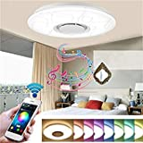 24W Dimmable Flush Mount LED Ceiling Light Music Pendant Lamp with Bluetooth Speaker
