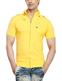 Tees Collection Men's Full Zip Buckle Neck Half Sleeve Yellow Colour T-shirt