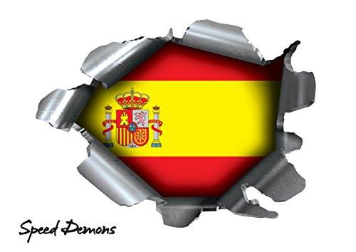 BITS4REASONS Speed Demons Pride Burst Rip Torn Reißfestigkeit Aufkleber Graphic, Selbstklebend, für Jede Oberfläche inkl. Laptops und Autos-Spanien Spanisch Espana Flagge