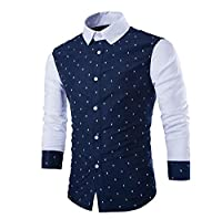 SportsX Mens Cotton Stitching Spell Color Fashion Pullover Tunic 1 M
