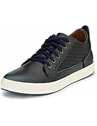 Mactree Men's Blue Artificial Leather Mid Top Casual Sneakers-Laserstar