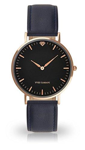 Yves Camani - orologio da polso da donna, Amelie, al quarzo, analogico, cassa in acciaio INOX color oro rosa, quadrante nero (pelle colore blu scuro)