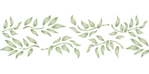 Leaf Schablone,–32x 11,5cm–wiederverwendbar Leaf Bordüre Laub Wand–Vorlage, auf Papier Projekte Scrapbook Tagebuch Wände...