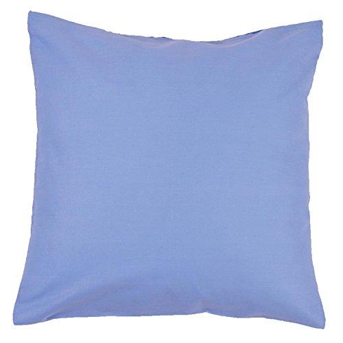 Kissenbezug, Uni, Baumwolle Linon, Reißverschluss, einfarbig, Kopfkissen, Dekokissen | 50x50 cm - Hellblau