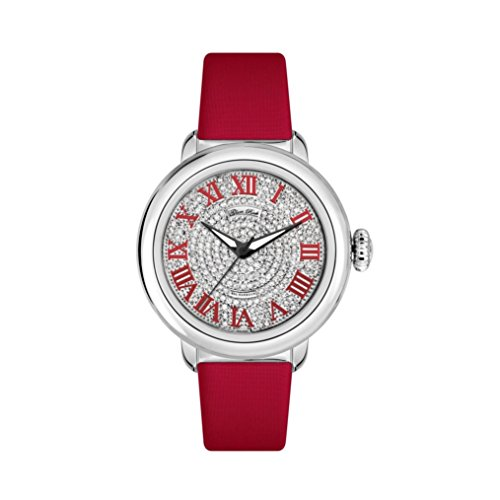 Glam Rock Women's Bal Harbour Diamond 40mm Red Satin Band Steel Case Swiss Quartz Analog Watch GR77034