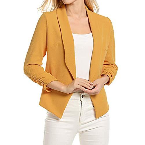 Dames Femmes Casual Mode Blazer À Manches 3/4 Ouvert Avant Court Cardigan Costume Veste Manteau De Bureau De Travail
