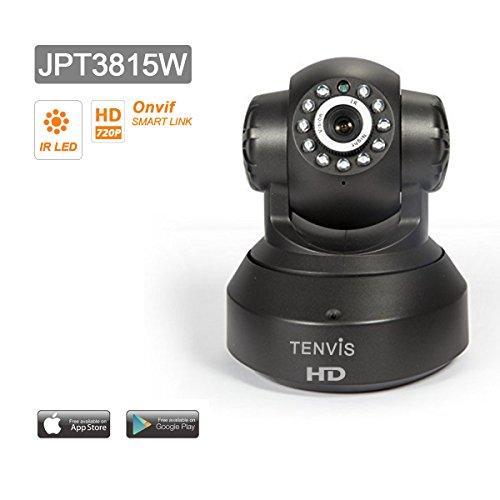 Caméra IP de surveillance Tenvis JPT3815W - Caméra IP infrarouge motorisée de sécurité wifi sans fil d'intérieur à capteur CMOS 1/4' 300 000 Pixels - Caméra IP Pan & Tilt à vision nocture - Visualisation sur ordinateur smartphone et tablette n'importe où et n'importe quand –Détection de mouvement - Audio bidirectionnel - DDNS gratuit