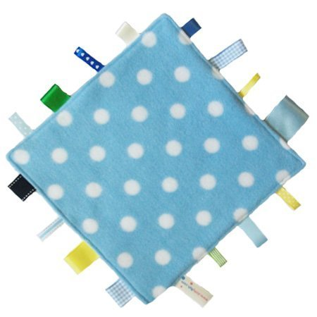 New handmade security tag blanket comforter by Dotty Fish. Made in England. Blue Polka Dot Design. Boys by Dotty Fish