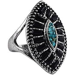 Silvestoo India Black Onyx & Turquoise Ring Sz 10.75 PG-124586