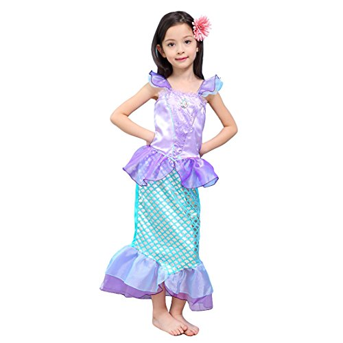 ail Fancy Rüschen Prinzessin Ariel Bling Cosplay Halloween-Kostüm-Weihnachtsparty-Kleider (Ariel Kleine Meerjungfrau Halloween-kostüm)