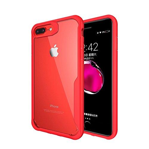 "iphone 7/iphone 8 Coque , SHANGRUN Doux TPU Silicone Bumper Transparent Dur PC Couvercle housse Etui Protection Case pour iphone 7/iphone 8 4.7"" Noir Rouge"