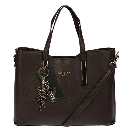 Kossberg Handtasche HenkeltascheTragetasche Schultertasche Bag elegant zeitlos (Braun)