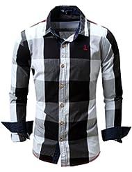 Chemise manuelle à manches longues pour hommes Chemise à carreaux en coton pur Chemise bouton M-3XL