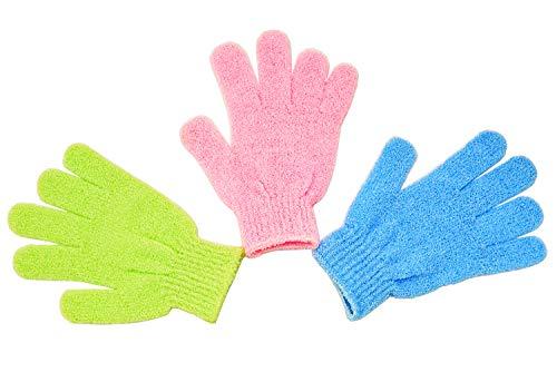 MAGNUM Set von 3 Stk. Peeling Handschuhe - Grün, Rosa und Blau