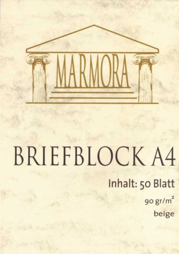 50 Blatt Briefblock Marmor <br> beige, 90g/m², DIN A4 (PW4672-50)