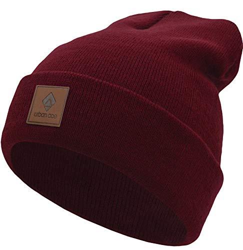 urban ace| Street Classics | Beanie, Mütze, mit Lederpatch | Damen, Herren | für das ganze Jahr, weicher Stoff (Ruby) -