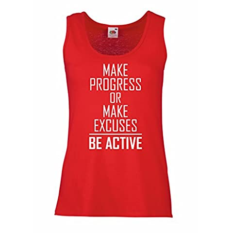 """Sleeveless t shirts for women """"Be Active - living with no excuses""""– motivational - daily inspirational quotes for success (Small Red White)"""