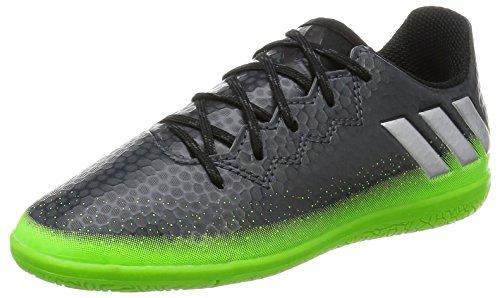 adidas Unisex-Kinder Messi 16.3 IN Fußballschuhe, Grau (Dark Grey/Silver Met./Solar Green), 30 EU