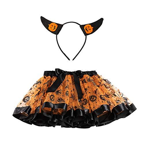 Kostüm Tanz Hut Schwänze - CANDLLY Halloween Cosplay Kinder Mädchen Ballettröckchen Halloween Party Tanz Ballett Kleinkind Baby Kostüm Rock Cartoon Pailletten Mesh TUTU Pettiskirt Stirnband Zweiteiliger Anzug