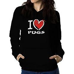 Sudadera con capucha de mujer I love Pug chalk style