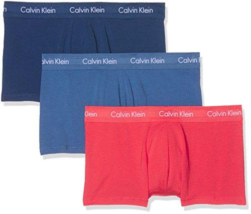Calvin Klein Herren Boxershorts Cotton Stretch 3P LOW RISE TRUNK Ohne Eingriff-3-Pack TRUNK Ohne Eingriff, Blau (C-Henna, Victoria Blue, Airf Hvf), M (Calvin Klein 3 Pack Kurze)