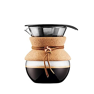 BODUM 11592-109 Pour Over Coffee Maker with Permanent Filter, 0.5 L, Multi-Layered, Transparent, 13.8 x 11.5 x 15.4 cm