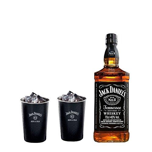 Jack Daniel's Geschenkset OLD NO. 7 (1 x 0.7 l) + 2 Jack & Cola Metal Becher Set