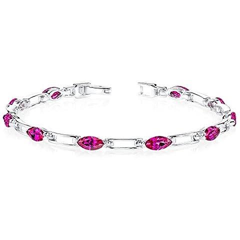 Revoni Fabulous Trend: Marquise Shape Ruby Gemstone Bracelet in Sterling Silver