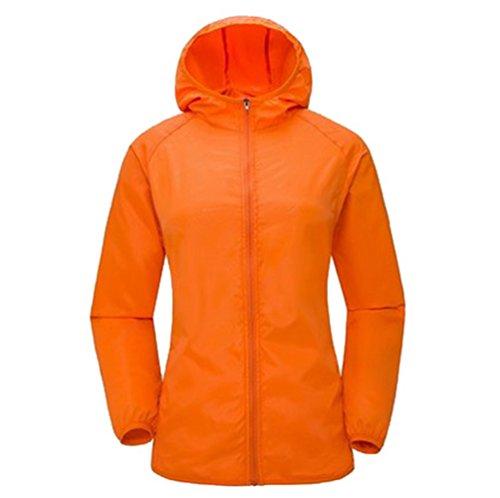 Yuanu Unisex Sommer Outdoor Sport Reiten Haut Windjacke Leichtgewicht Atmungsaktiv Schnell Trocknend Lange Ärmel Sonnenschutz Jacke Mit Kapuze Orange XL