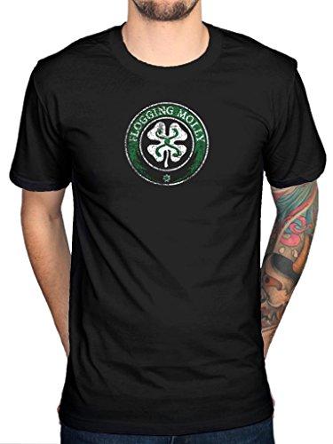 Ufficiale Flogging Molly Maglietta con logo trifoglio irlandese Punk Rock Indie Dave King Black Medium