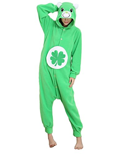 Honeystore Jumpsuit Tier Cartoon Glück Bär Fasching Halloween Kostüm Sleepsuit Cosplay Pyjama Schlafanzug Erwachsene Unisex Kigurumi Tier Onesize S