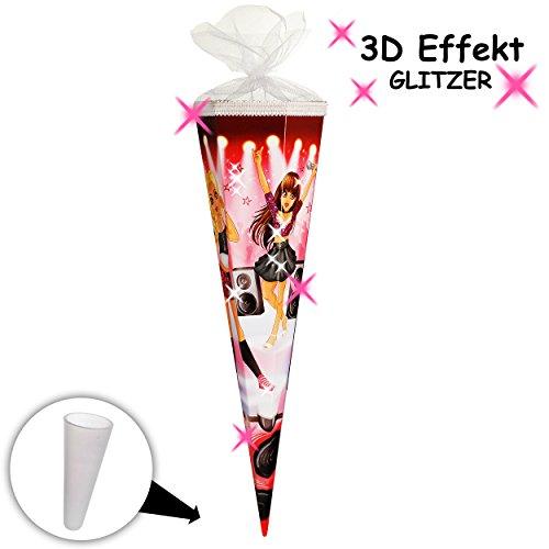 alles-meine.de GmbH 3-D Glitzer Effekt ! _ Schultüte -  Glamour Girl / Sängerin & Rock Star  - 70 cm - Filzabschluß - Zuckertüte - mit / ohne Kunststoff Spitze - Goldbuch - Mäd..
