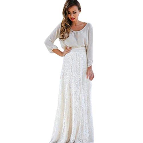 48f1a1b024 Gusspower Mujer Elegante Recta Larga Falda De Tutu De Tul Longitud Encaje  Boho Maxi Faldas De