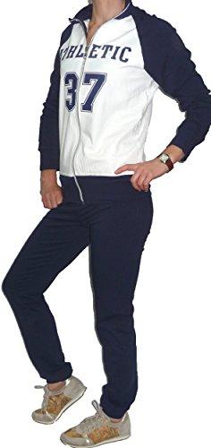 Tuta Completa Pantalone e Felpa Senza Cappuccio Cotone Felpatino Ragazza Donna Bianco Blu
