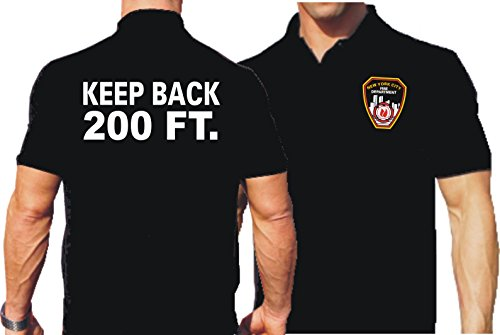"""'Polo Black, """"KEEP Back 200ft. con emblema NYC Fire Department, nero, M"""