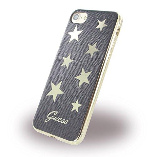 Guess GUHCP7STABK Stars PU Soft Schutzhülle für Apple iPhone 7 schwarz (Star Offiziell Lizenzierte)