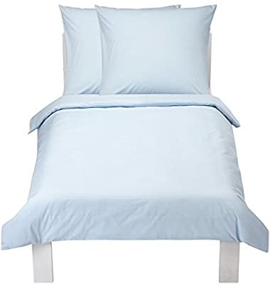 AmazonBasics Everyday 100% Cotton Duvet Set, Blue - inexpensive UK light shop.