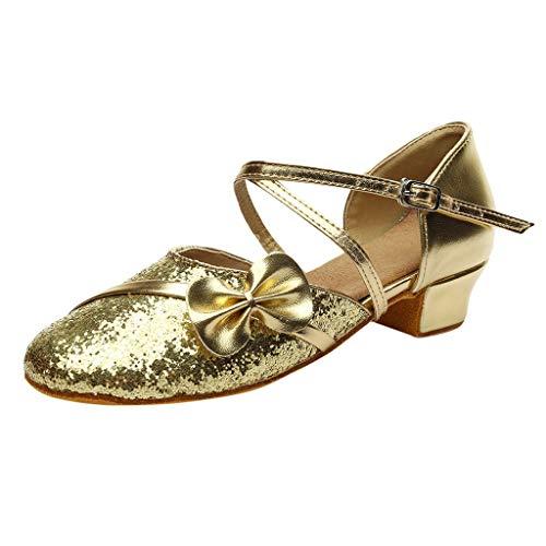 Tefamore Niñas Zapatillas de Baile de Tango Latino Zapatos de Lentejuelas Zapatos de Fiesta de Niños...