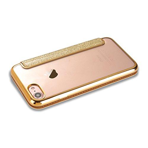 iPhone 7 Custodia 4,7 pollici, LCHULLE Premuim Bling Bling Galvanotecnica Tecnologia PU Pelle Capovolgere Caso, Ultra Sottile Ammortizzanti TPU Gel Placcatura Indietro Copertina con Portafoglio Fessur Oro