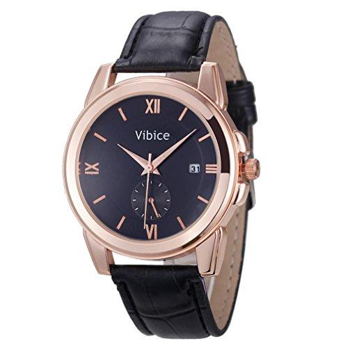 Preisvergleich Produktbild Sansee Männer-Art- und Weisequarz-analoge Sport-Handgelenk-Edelstahl-beiläufige lederne Uhr (Rose Gold)