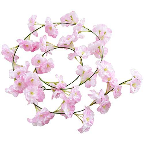 bismarckbeer_ Künstliche Kirschblüten Blumenranken Hängeblume Girlande Hochzeit Party Garten Dekoration, Stoff, Rosa/Weiß, Einheitsgröße