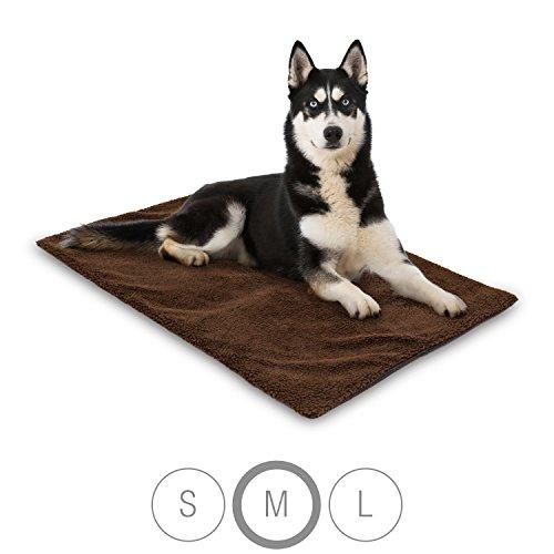 Bella & Balu Haustier Thermodecke inkl. Mikrofasertuch zum Reinigen der Pfoten - Selbstheizende und isolierende Thermomatte mit kuschelig-weichem Bezug für Hunde und Katzen (M | 100 x 70 cm)