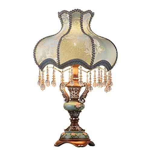 DTTDV Europäischen Stil Tischlampe, Stoff Nachttischlampe handgemachte Prinzessin viktorianischen Stil Pfau Statue Harz Lampe Körper Schreibtischlampe (Size : Buttonswitch) - Lampe Viktorianische Tisch Lampe