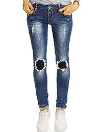 Bestyledberlin Damen Ripped Knee Jeans, Skinny Fit Hüftjeans Used Look, Aufgerissene Flicken Röhrenjeans j02l