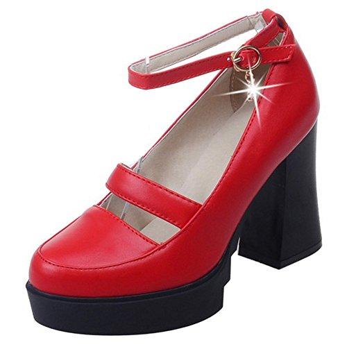 COOLCEPT Damen Mode Knochelriemchen Pumps Geschlossene Blockabsatz Schuhe Rot