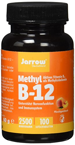 Methyl B12 2500 µg, aktives Vitamin B12 als Methylcobalamin, Lutschtabletten mit Pfirsichgeschmack, vegan, hochdosiert, Etikett in Deutsch, Englisch und Französisch, Jarrow, 1er Pack (1 x 100 Stück) -