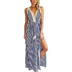 Diseño de chaleco de moda de las mujeres V-Collar Maxidress Stripe Pattern Skirt Elegante ropa sexy