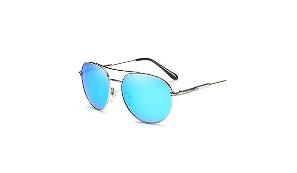 LXKMTYJ Goji Sonnenbrillen Mode Liebhaber Persönlichkeit Hd Kröte Spiegel Männer fuhren Engagierte dunkle Brille, Silber, Blauer Merkur