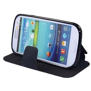 Étui Housse en cuir Gel Silicone pour Samsung Galaxy S3 GT-i9300 S III LTE i9305 avec fermeture aimantée pratique deux poches pour vos cartes bancaires Flip à rabat Coque noir